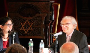 Chatting with lyricist Sheldon Harnick at Eldridge Street Synagogue.